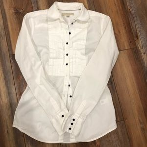 Banana Republic White Pleated Front Button Shirt